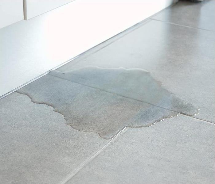 puddle of water on tile floor