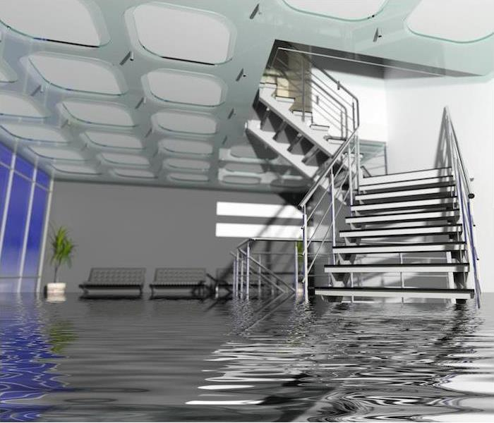 Water flooding a staircase